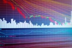 Grafiek van effectenbeursinvestering handel Stock Afbeeldingen