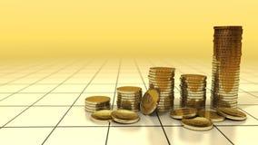 Grafiek van gouden muntstukkenverhoging op achtergrond Stock Afbeelding