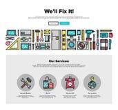 Grafiek van het de lijnweb van de reparatiedienst de vlakke Stock Afbeelding