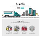 Grafiek van het de lijnweb van de vrachtwagenlogistiek de vlakke vector illustratie