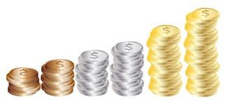 Grafiek van muntstukken: goud, zilver, brons Royalty-vrije Stock Afbeeldingen