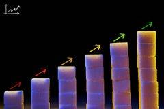Grafiek van stukken van suiker met getrokken pijlen stock illustratie