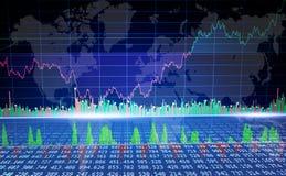Grafiek van wereldmarkt, financiën bedrijfsgegevensconcept Cryptocurrency handel vector illustratie