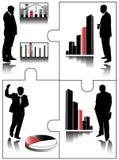 Grafiek voor financiën met bedrijfsmensen Stock Fotografie