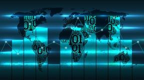 Grafiekdiagram van de ontwikkeling van digitale globale technologieën van de toekomst tegen de achtergrond van de wereldkaart Bin royalty-vrije illustratie
