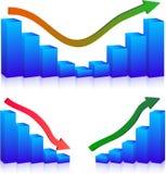 Grafieken de bedrijfs van de Mislukking en van de groei Stock Afbeeldingen