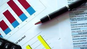 Grafieken en balans van financiële staat, analyse van businessplan voor aandeelhouders stock video