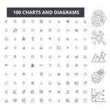 Grafieken en diagrammen editable lijnpictogrammen, 100 vectorreeks, inzameling Grafieken en diagrammen zwarte overzichtsillustrat stock illustratie