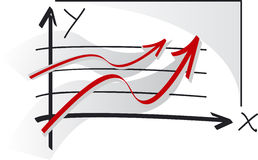 Grafieken van succes Stock Foto's