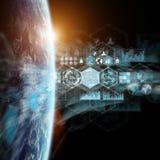 Grafiekengrafiek en analyse bij aarde het 3D teruggeven Royalty-vrije Stock Afbeelding