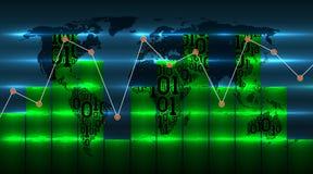 Grafiekgrafiek op achtergrond van wereldkaart met nieuwe digitale globale technologieën Kaart van Aarde van binaire code, samenva stock illustratie