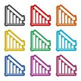 Grafiekpictogram, geplaatste kleurenpictogrammen Royalty-vrije Stock Foto