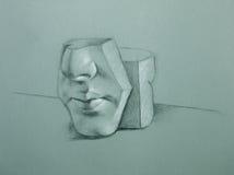 Grafietillustratie van ceramische gezichtsvorm Stock Foto's