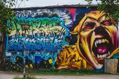 Grafiiti on Christiania District in Copenhagen stock photo