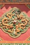 Grafik auf einer Wand eines alten buddhistischen Tempels, Peking, China Stockbilder