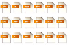 Grafik-Datei-Ikonen (EPS+JPG) Stockfotos