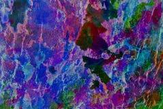 Grafik der gemischten Medien, bunte künstlerische gemalte Schicht der Zusammenfassung in der blaue, purpurrote, grüne Farbpalette stockbild