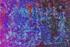 Grafik der gemischten Medien, bunte künstlerische gemalte Schicht der Zusammenfassung in der blaue, purpurrote und rote Farbpalet stockfotos