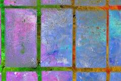 Grafik der gemischten Medien, bunte künstlerische gemalte Schicht der Zusammenfassung in der blaue, rosa, grüne, rote Farbpalette stockfotografie