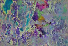 Grafik der gemischten Medien, bunte künstlerische gemalte Schicht der Zusammenfassung in der grünen, gelben, rosa Farbpalette auf stockbilder