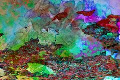 Grafik der gemischten Medien, bunte künstlerische gemalte Schicht der Zusammenfassung in der grünen, roten, purpurroten Farbpalet stockfotografie