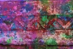 Grafik der gemischten Medien, bunte künstlerische gemalte Schicht der Zusammenfassung im Rosa, grüne Farbpalette auf Schmutzwandb stockfotos