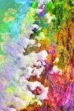 Grafik der gemischten Medien, bunte künstlerische gemalte Schicht der Zusammenfassung in der weiße, rosa, grüne Farbpalette auf S stockfotografie