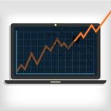Grafik, die den Laptopmonitor bricht Stockbilder