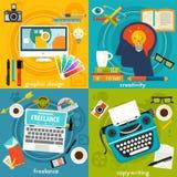 Grafik geruhen, Copywriting, Kreativität und freiberuflich tätige Konzept-Fahnen Lizenzfreies Stockfoto