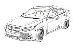 Grafik Limousine-Honda Civics 2017 Skizze Abbildung 3D Stockbilder