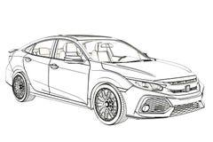 Grafik Limousine-Honda Civics 2017 Skizze Abbildung 3D Lizenzfreies Stockbild