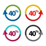 Forty percent up, upwards arrow illustration. EPS file available. see more images related stock illustration