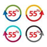 Fifty five percent up, upwards arrow illustration. Vector illustration on white background stock illustration
