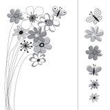 Grafik stellte mit Blumen ein Lizenzfreie Stockbilder