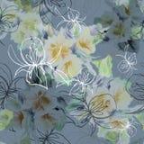 Grafik stieg mit Aquarellblumenstraußblumen auf einem dunkelgrünen Hintergrund Nahtloses mit Blumenmuster Stockfotografie