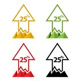 Twenty five percent up, upwards arrow illustration. EPS file available. see more images related vector illustration