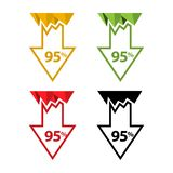 Ninety five percent down, downwards arrow illustration. EPS file available. see more images related vector illustration