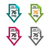 Seventy six percent down, downwards arrow illustration. document icon. EPS file available. see more images related stock illustration