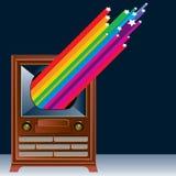 Grafik von Weinlese Fernsehapparat Stockbilder