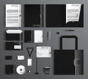 grafika biznesowy korporacyjnej tożsamości szablonu wektor Set z czarny i biały Obrazy Royalty Free