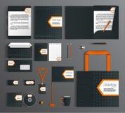 grafika biznesowy korporacyjnej tożsamości szablonu wektor Set z czernią i pomarańczowym projektem Fotografia Stock
