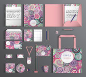grafika biznesowy korporacyjnej tożsamości szablonu wektor Set z kolorowymi projektami Obrazy Stock