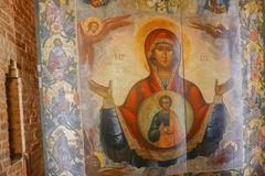 Grafika przy Świątobliwą basilu ` s katedrą, Moskwa Obrazy Royalty Free