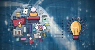 grafika wokoło pomysł z 3D ziemskim i technologicznym tłem ilustracji