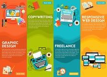 Grafikdesign, Copywriting, entgegenkommendes Webdesign und Freeance-Konzept lizenzfreie abbildung