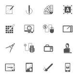 Grafikdesign-schwarze Ikonen stock abbildung