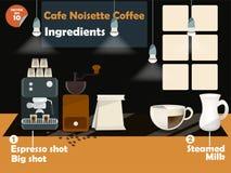 Grafikdesign von Café noisette Kaffeerezepten Stockfotografie
