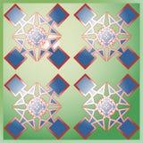 Grafikdesign von farbigen Quadraten auf grünem Hintergrund Stockbild