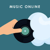 Grafikdesign von Musik online, Vektorillustration Stockfotos