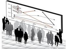 Grafiken für Finanzierung mit Geschäftsleuten Stockfoto